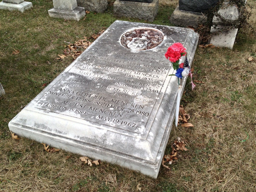 Patriotic decoration added to Mr Menken's grave stone.