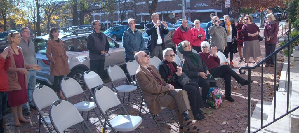 Attendees at the Mencken House Ribbon-cutting